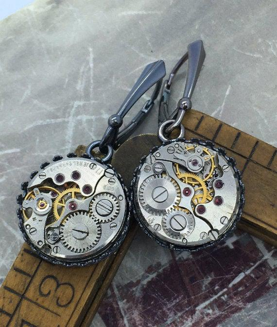 Sterling Silver Vintage Watch Movement Earrings on Lever Backs - The Victorian Magpie