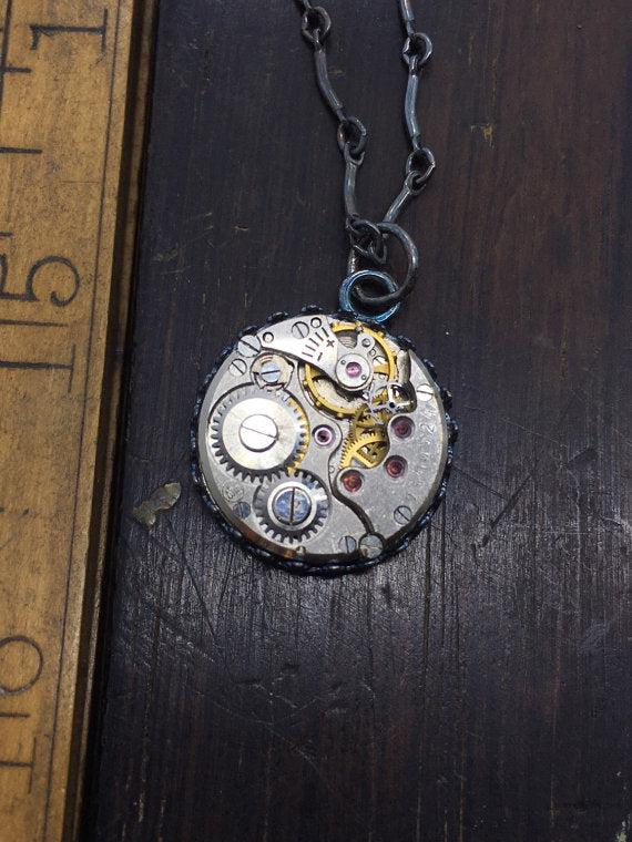 Sterling Silver Round Vintage Watch Movement Necklace - The Victorian Magpie