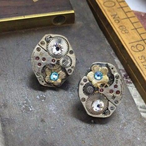 Vintage Watch Works Earrings with Flower and Crystal Accents