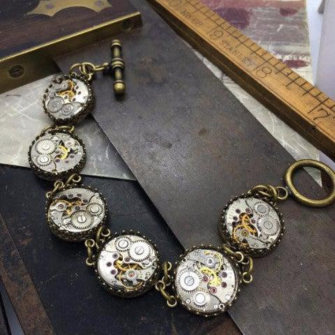 Antique Brass Double Link Watch Movement Station Bracelet with Toggle Clasp