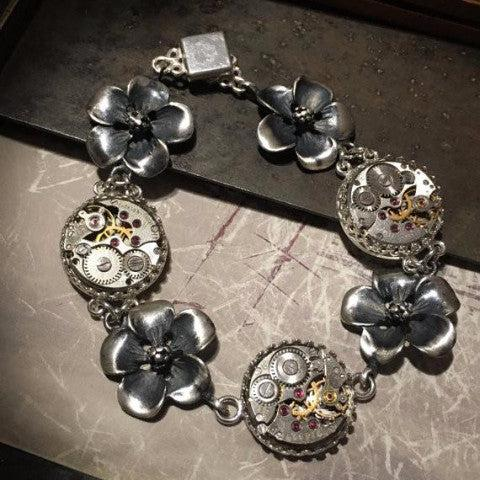 Naomi, Vintage Watch Movement Bracelet with Dogwood Flowers