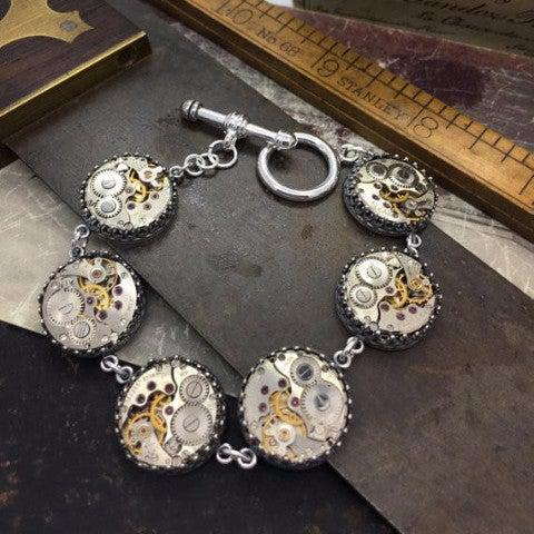 Sterling Silver Vintage Watch Movement Station Bracelet with Toggle Clasp