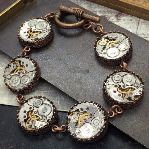 Brass Copper Vintage Watch Movement Bracelet with Toggle Clasp