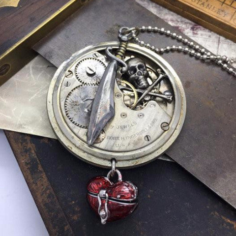 Vintage Watch Movement Pirate Necklace