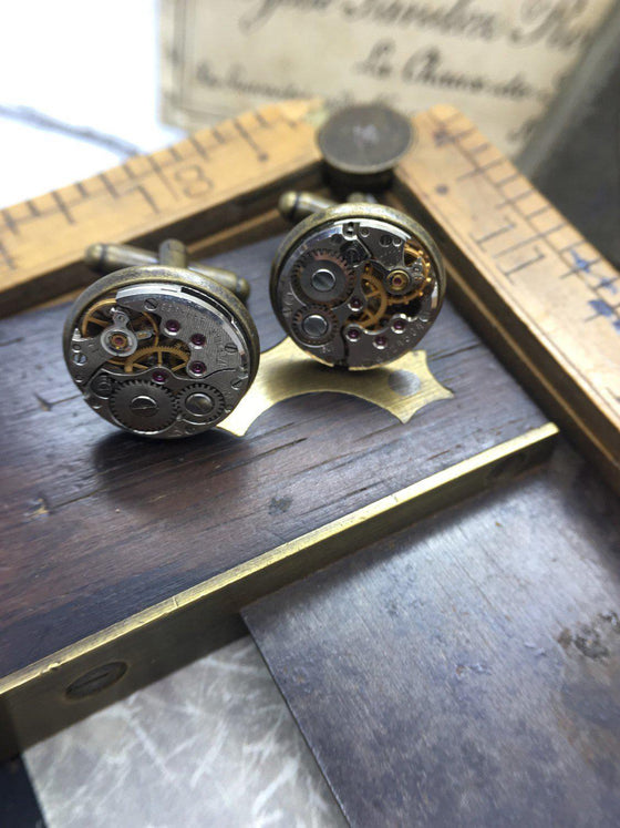 James, Steampunk Brass Cufflinks