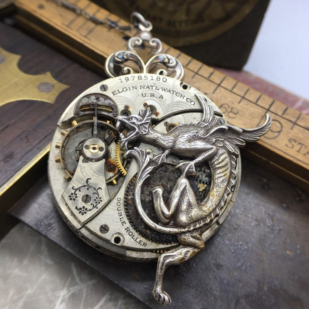 RESERVED ERF Dragon Elgin Pocket Watch Necklace