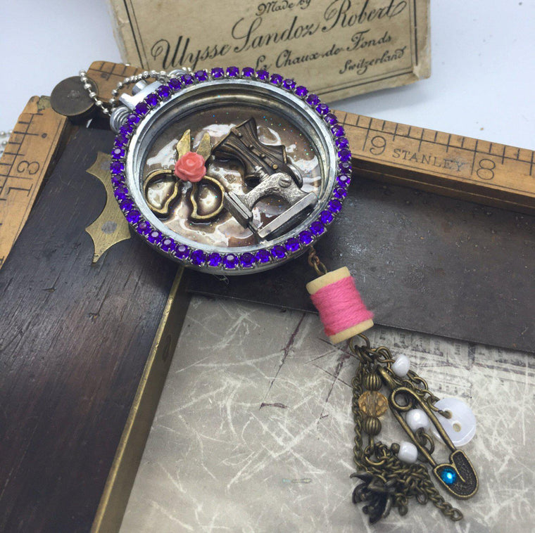 Vintage A Stitch in Time Watch Case Necklace