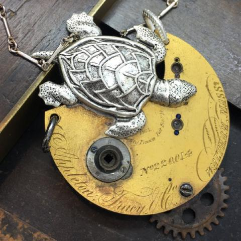 Antique Pocket Watch Sea Turtle Necklace - The Victorian Magpie