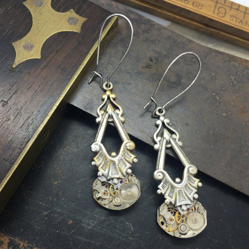 Eloise, Art Deco Dangle Earrings - The Victorian Magpie