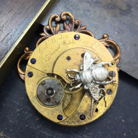 One of a Kind Elgin Watch Movement Necklace with Bee Charm