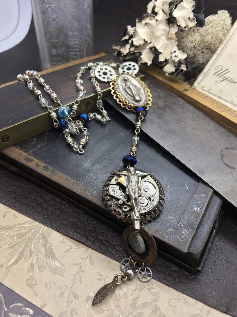 Large Steampunk Rosary Necklace - The Victorian Magpie