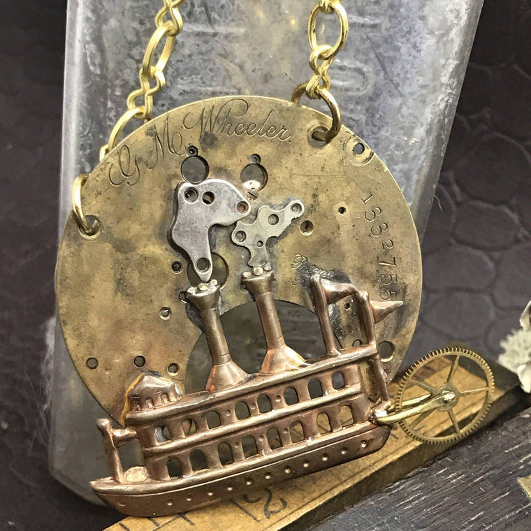 Steamboat Steampunk Necklace