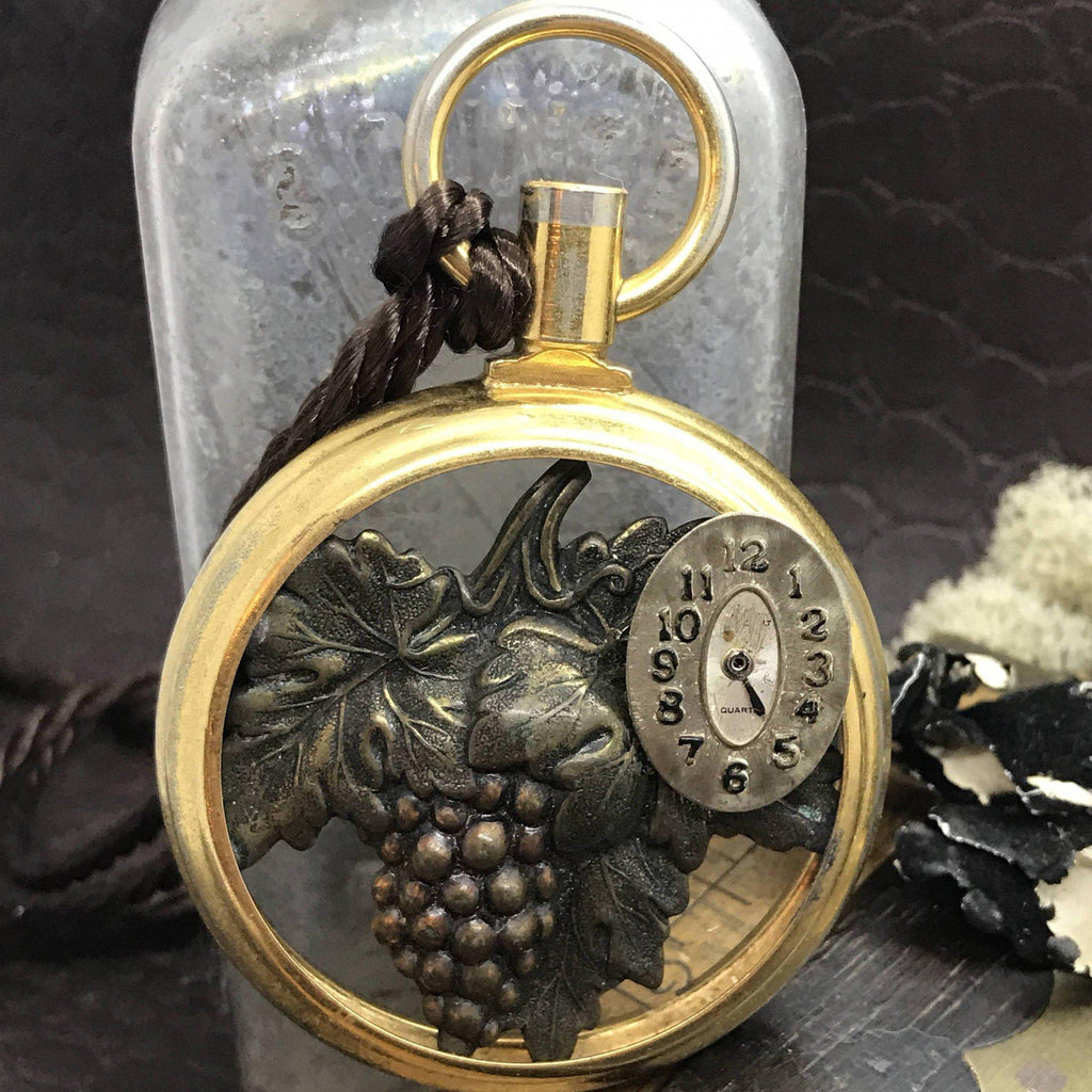 Unique Watch Necklace with Grapes - The Victorian Magpie