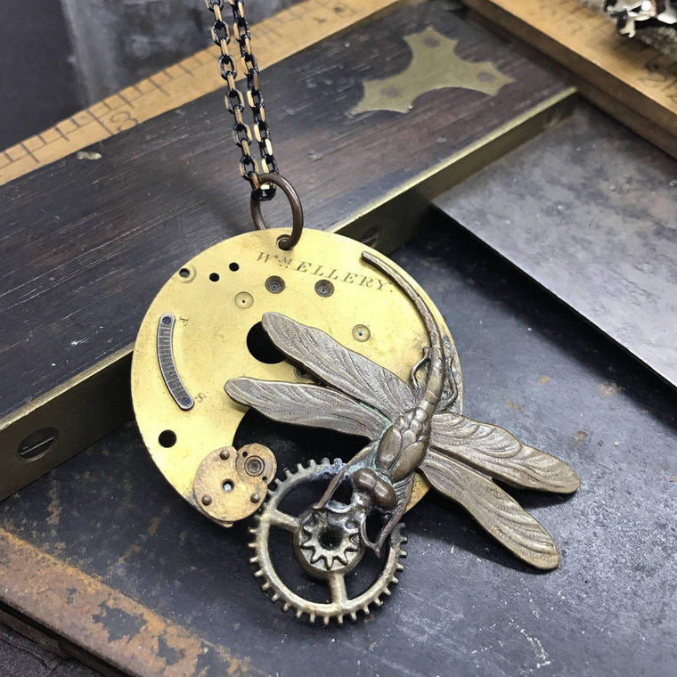 Dragonfly Steampunk Artdeco Necklace - The Victorian Magpie