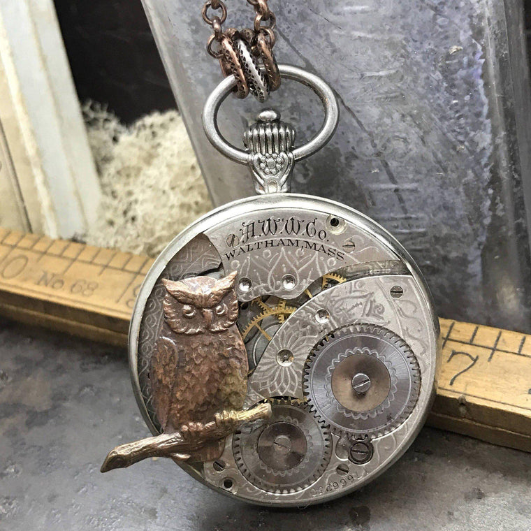 Elwin-Owl Watch Necklace