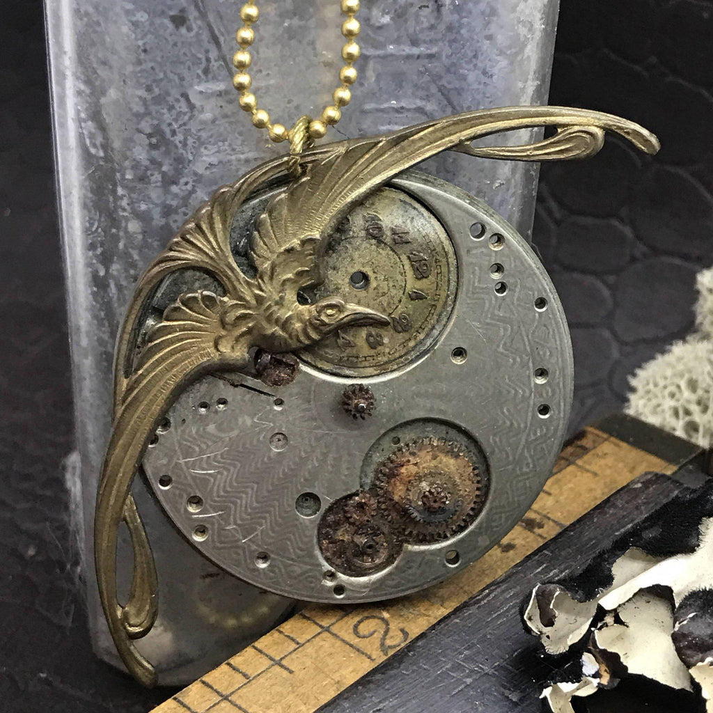 Phoenix Steampunk pocket watch handcrafted artisan jewelry necklace Handcrafted artistic jewelry The Victorian Magpie