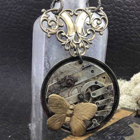 """Timeless Treasure"" Butterfly Steampunk Necklace"