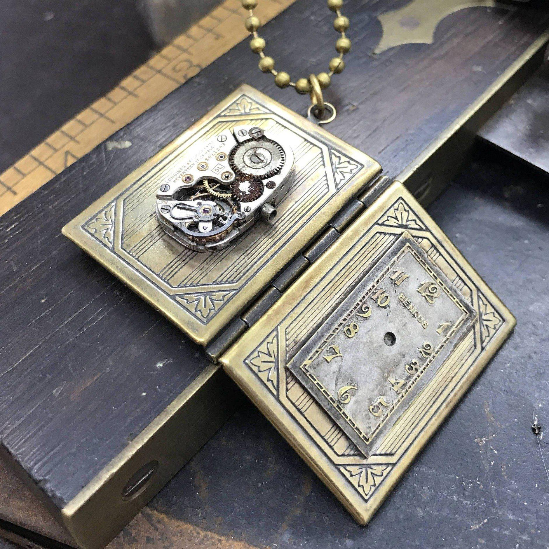 One of a kind steampunk inspired book locket necklace the one of a kind steampunk inspired book locket necklace aloadofball Images