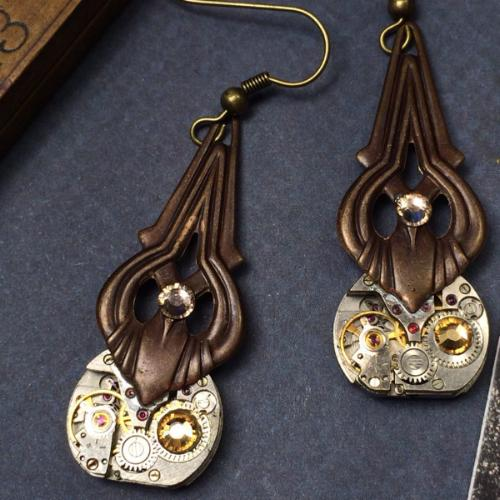 Carmen, Deco Steampunk Earrings - The Victorian Magpie