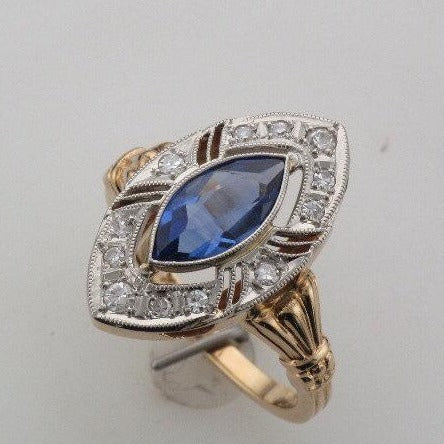 Vintage sapphire and diamond gold ring