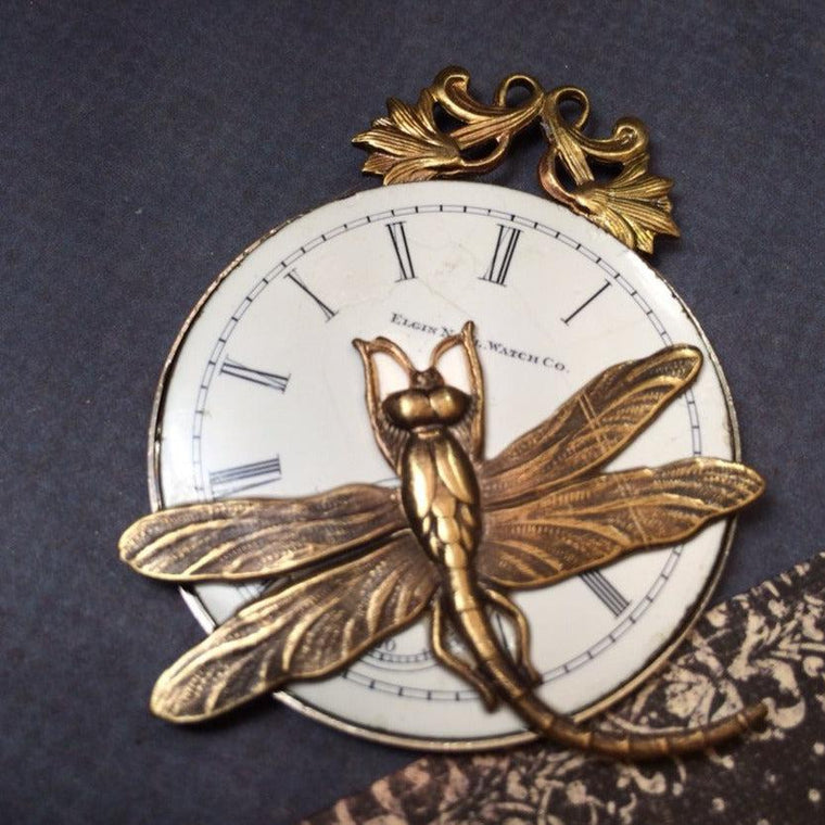 Steampunk necklace watch face with dragonfly handcrafted artisan jewelry - The Victorian Magpie