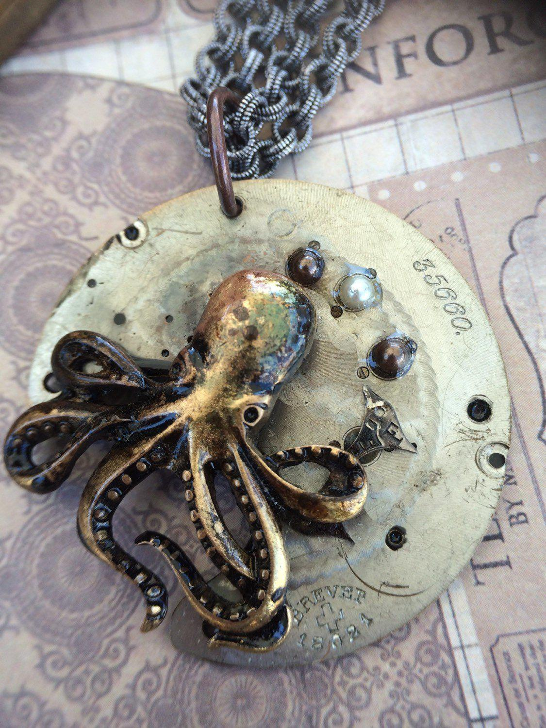 Octopus Steampunk Necklace with Pearls