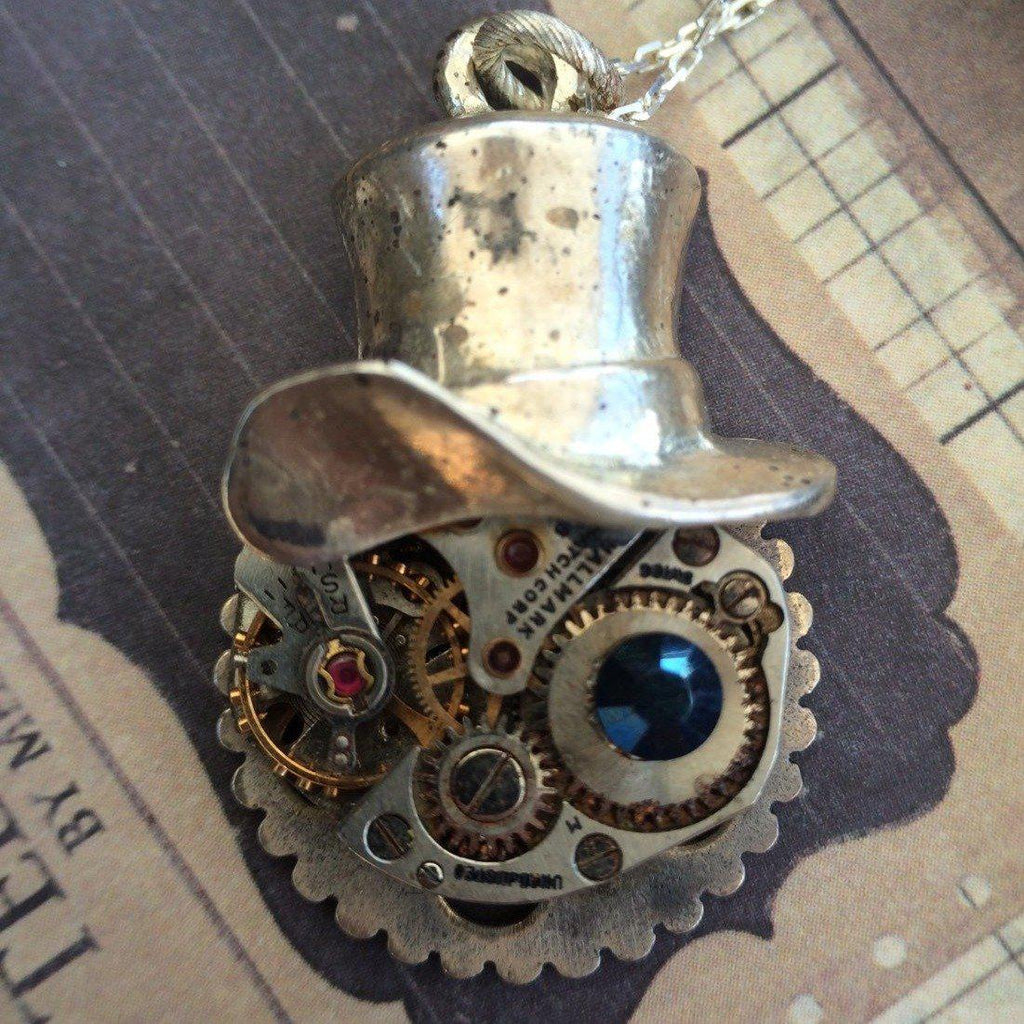 Steampunk necklace Cheshire Cat Sterling Silver Handcrafted artistic steampunk jewelry The Victorian Magpie