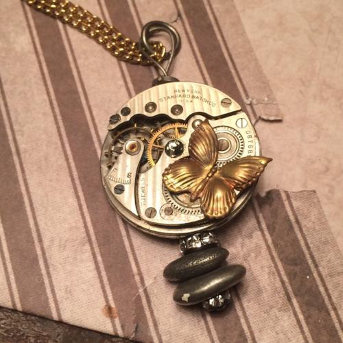 Butterfly Steampunk Pocket Watch Necklace