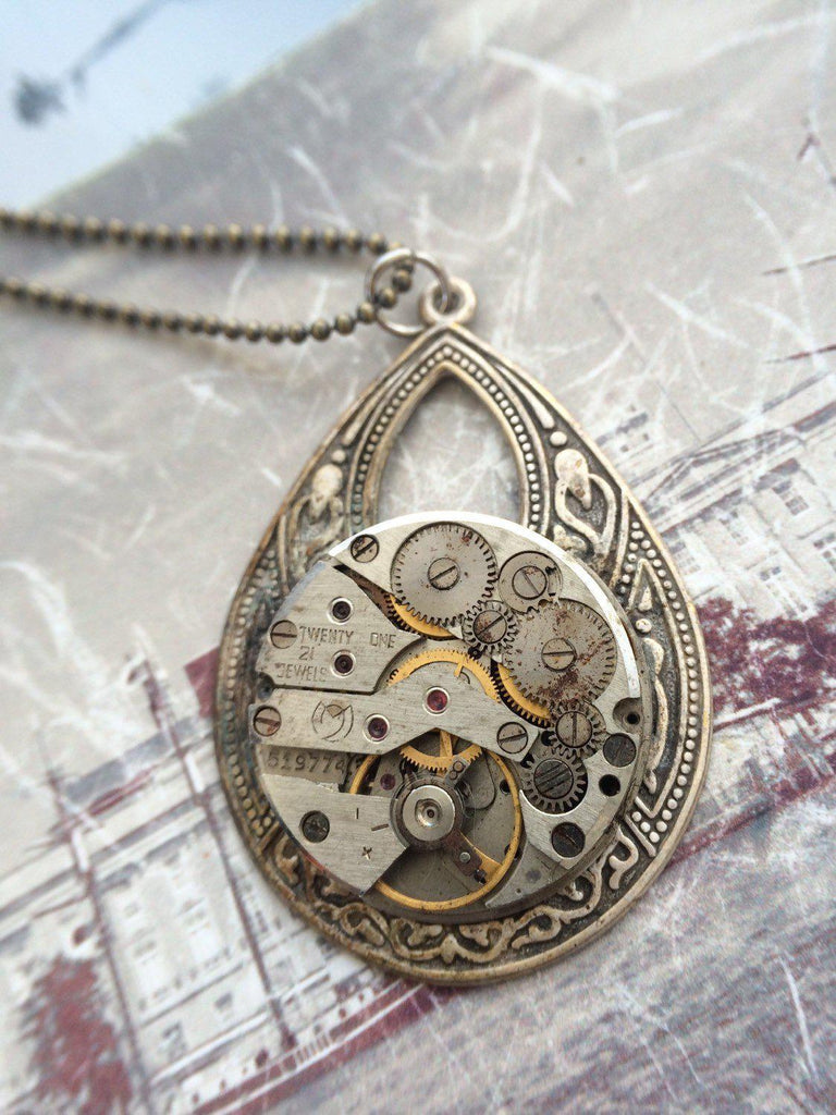 Helen, Watch Movement  Necklace - The Victorian Magpie