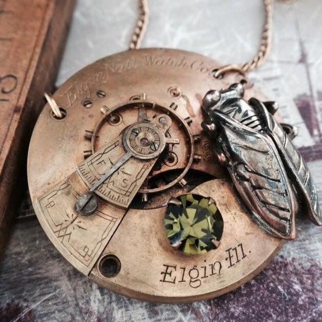 Elgin Cicada Pocket Watch Necklace