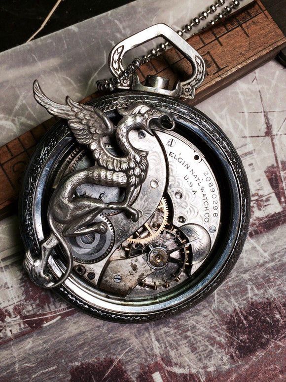 Large Griffin Pocket Watch Necklace - The Victorian Magpie