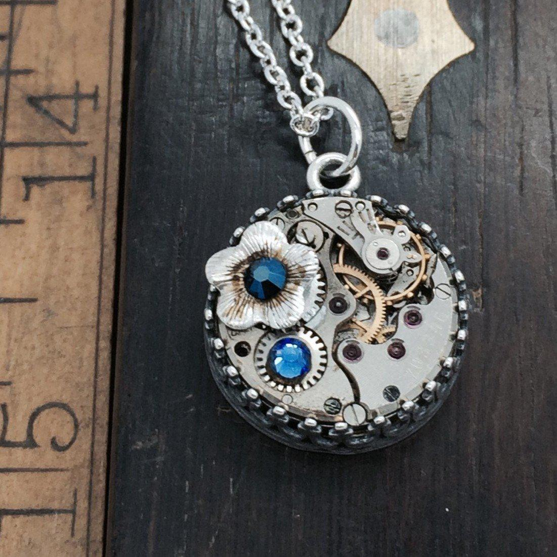 Steampunk Inspired Birthstone Watch Movement Necklace with Flower Charm - The Victorian Magpie