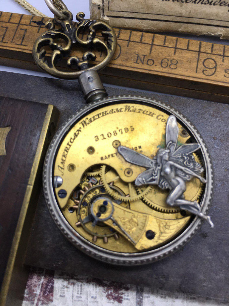 Fairy on Rare Waltham Pocket Watch Necklace
