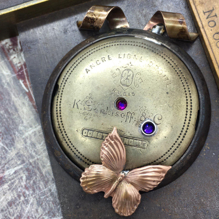 Steampunk Inspired Vintage Watch Mainspring Necklace with Butterfly Charm - The Victorian Magpie