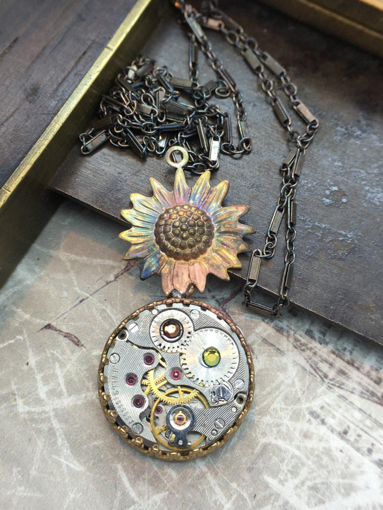 Sunflower Steampunk Necklace - The Victorian Magpie