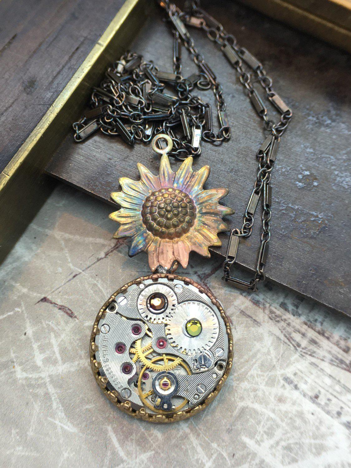 Sunflower Steampunk Necklace