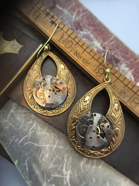 Helen, Large Oval Victorian Earrings - The Victorian Magpie