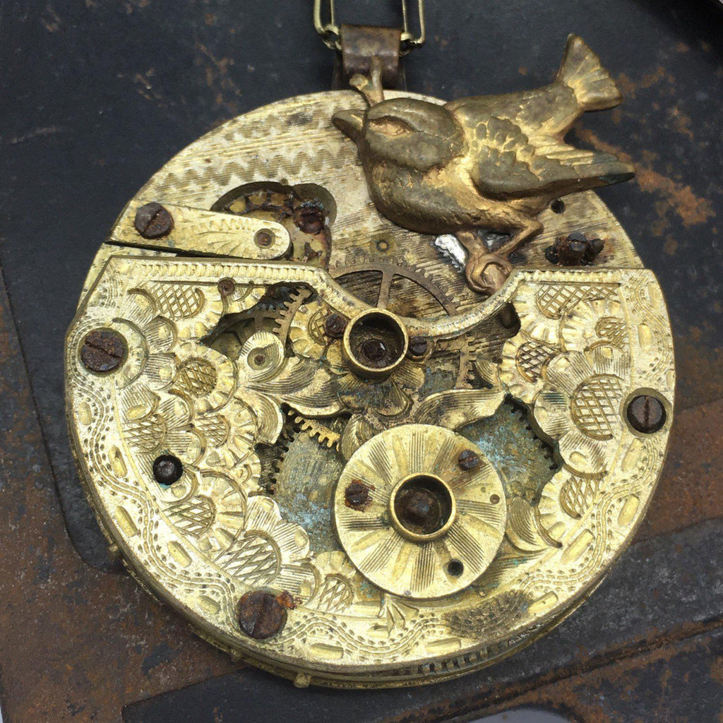 French Circa 1800 Hand Pierced Pocket Watch Necklace