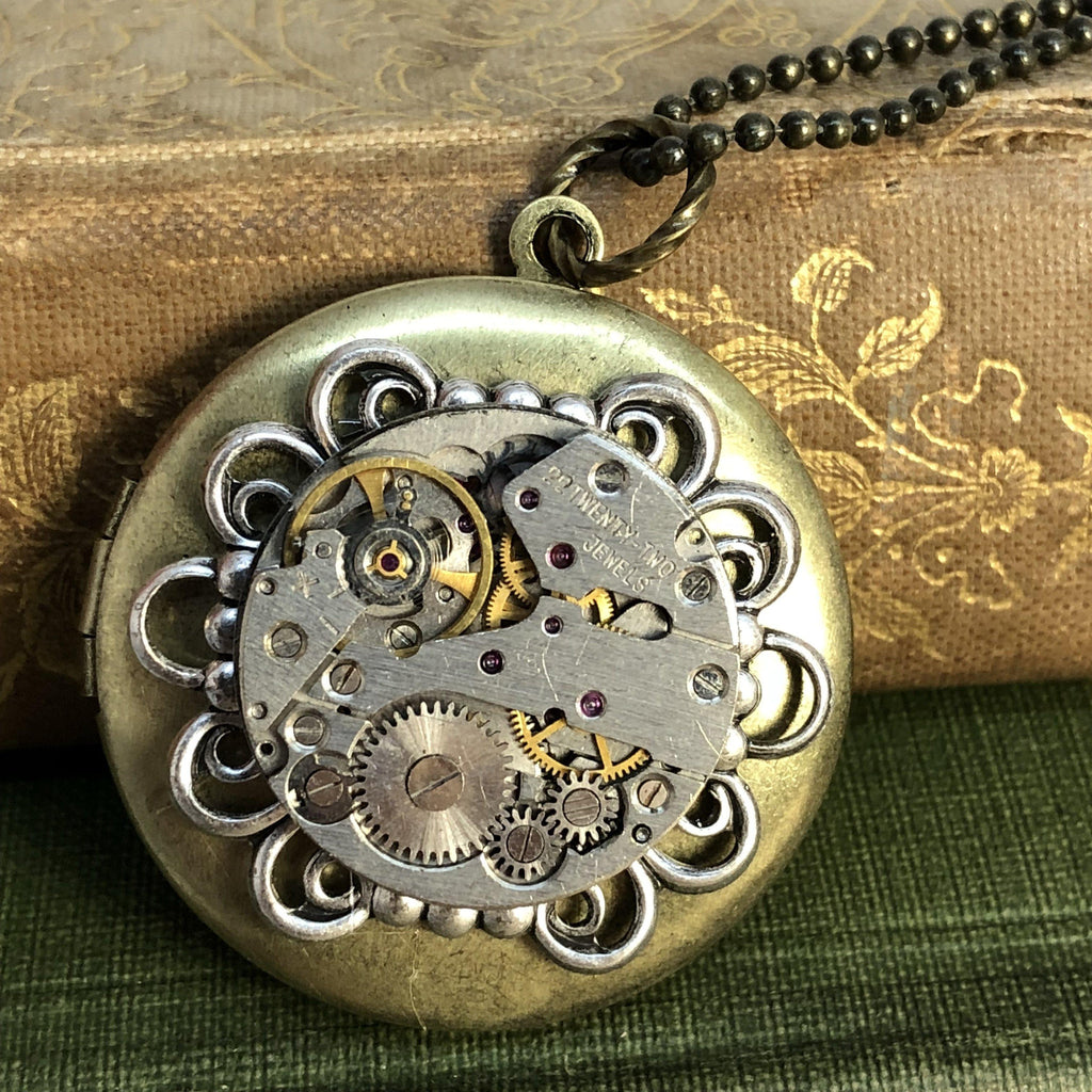 Ashley, Round Filigree Locket - The Victorian Magpie