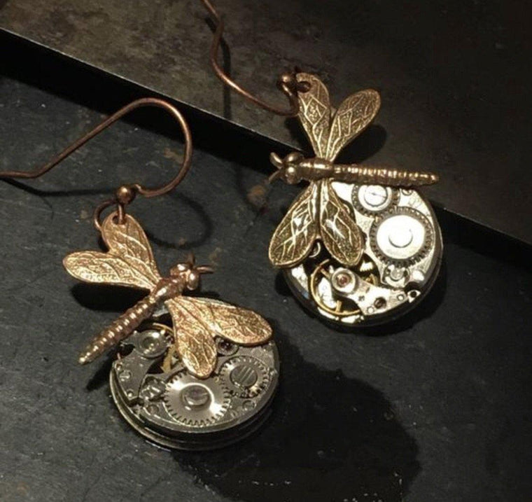 Dragonfly watch earrings
