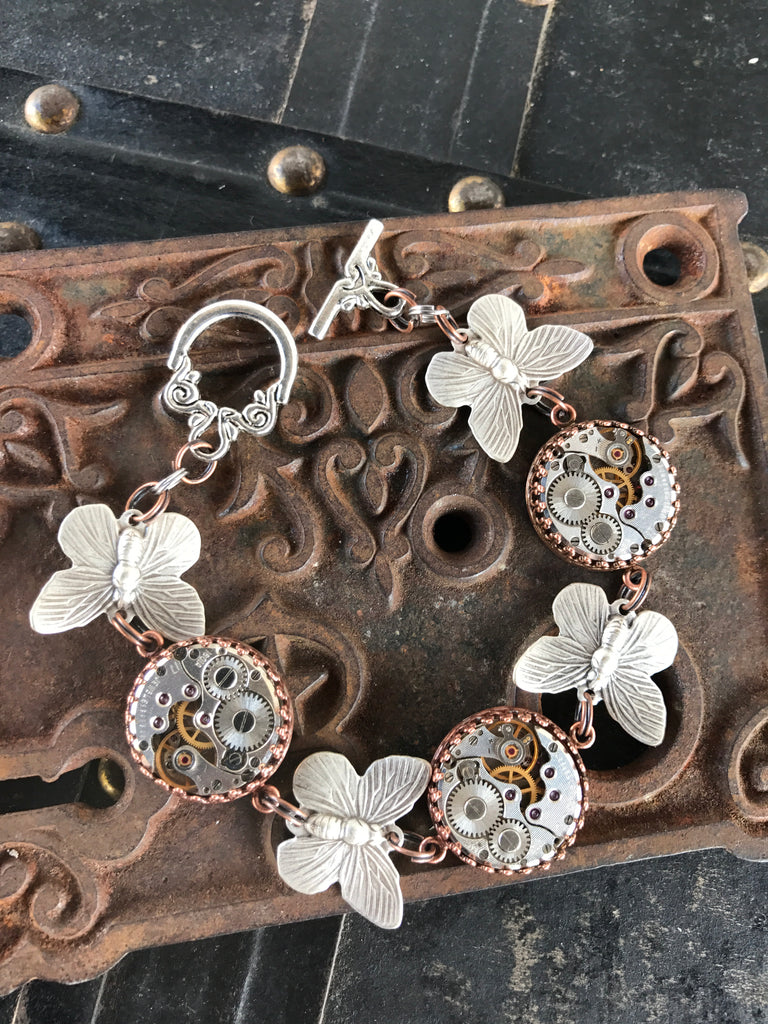 Nella, Silver and Brass Butterfly Bracelet