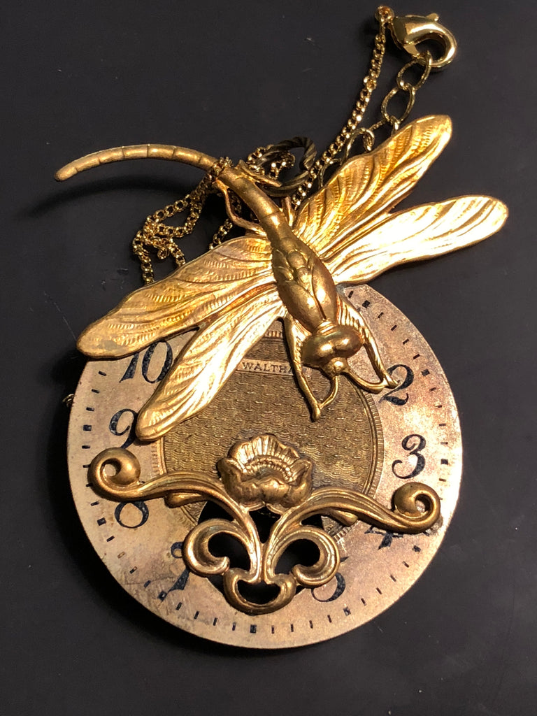 """Phoebe"" Dragonfly Watch Dial Necklace"