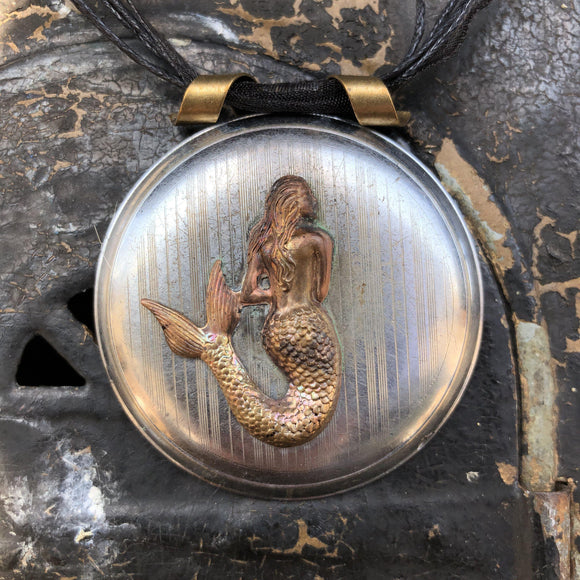 Mermaid pocket Watch Case Necklace