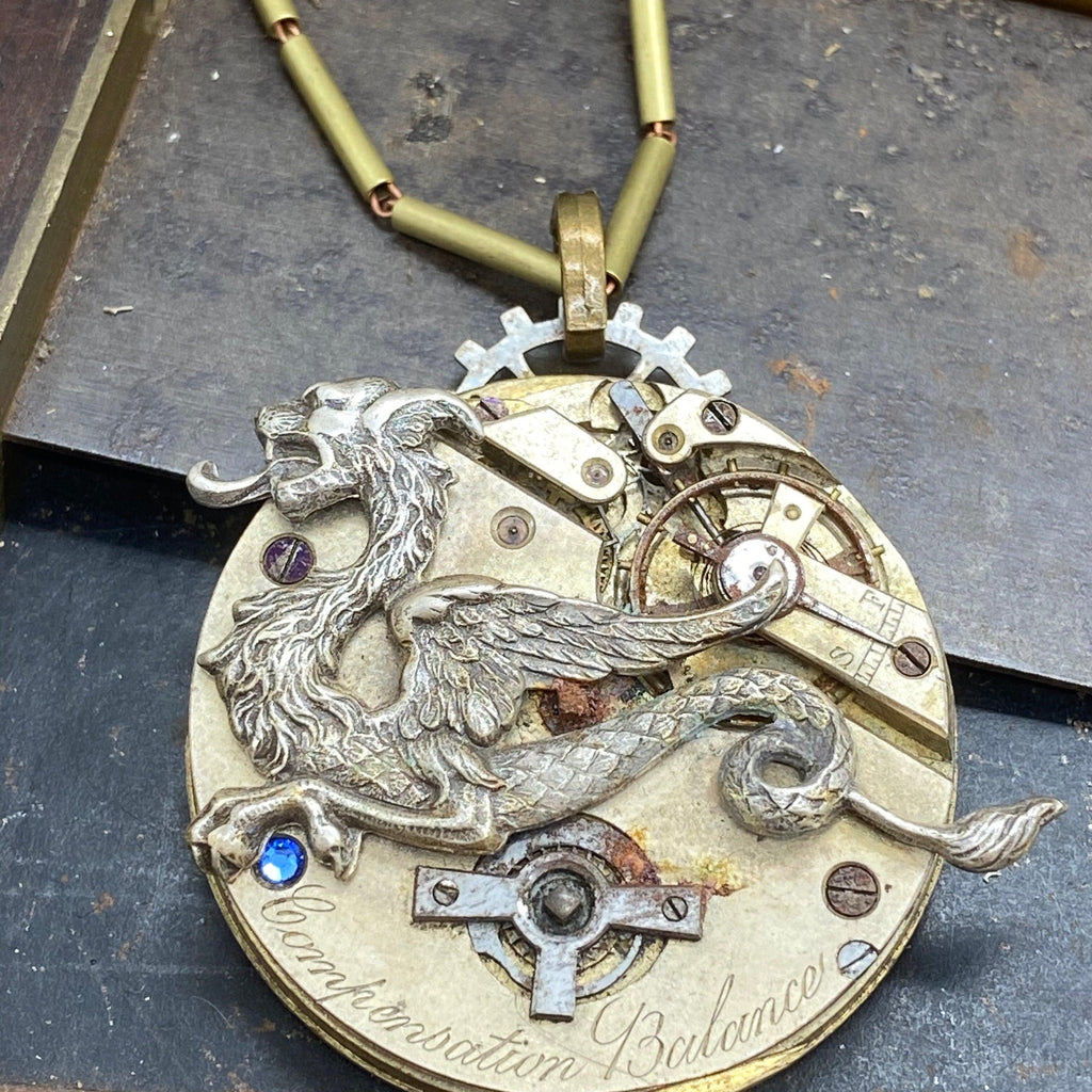 Steelclaw, Dragon Mechanical Necklace - The Victorian Magpie