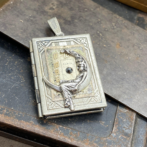 Moon Maiden Book Locket Pendant - The Victorian Magpie