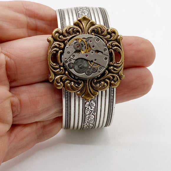 Roxy, Vintage Watch Movement Cuff Bracelet - The Victorian Magpie
