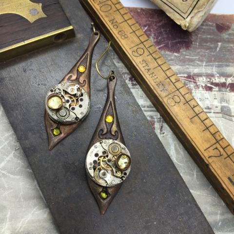 Annette, Brass Art Deco Earrings