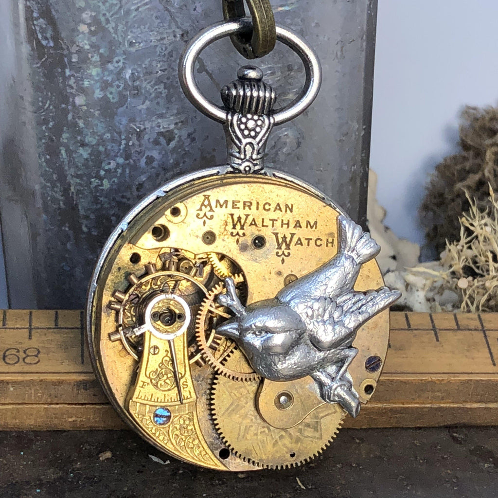 Lydia, Sparrow Pocket Watch Necklace