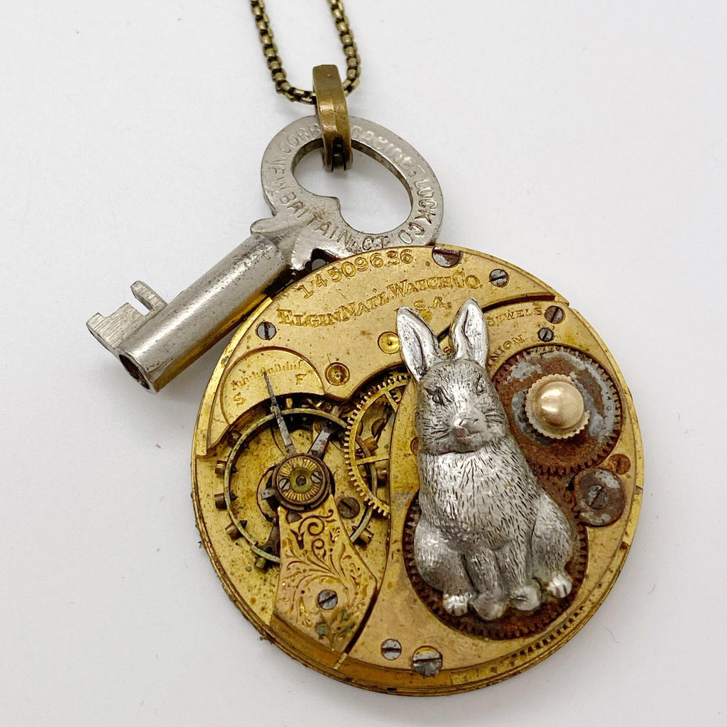 White Rabbit Key Necklace - The Victorian Magpie