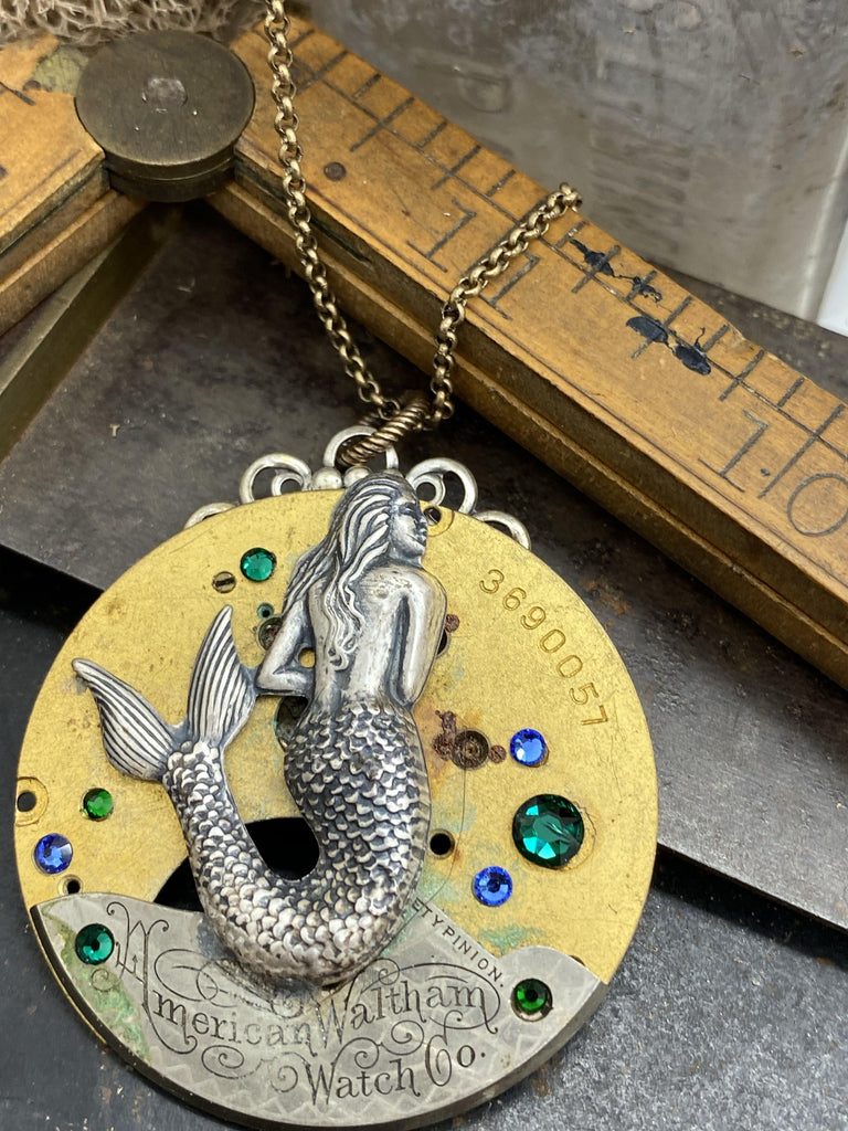 Coral, Mermaid Engraved Watch Part Necklace - The Victorian Magpie
